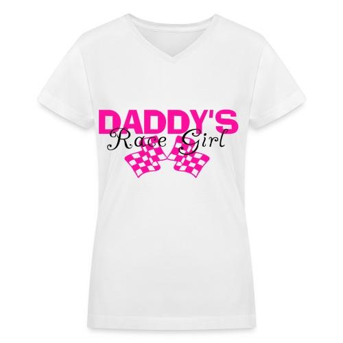 Daddy's Race Girl - Women's V-Neck T-Shirt