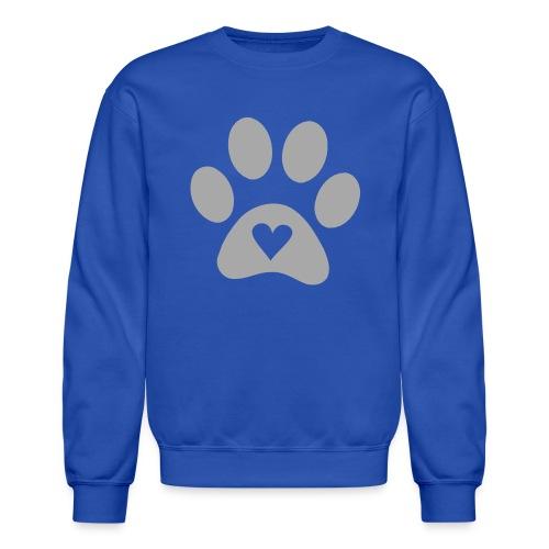 Blue Sweatshirt W/ Silver GLITTER Paw - Crewneck Sweatshirt