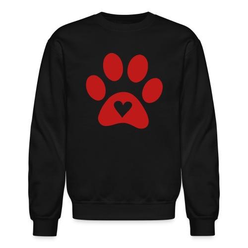 Black Sweatshirt W/ Red GLITTER Paw - Crewneck Sweatshirt