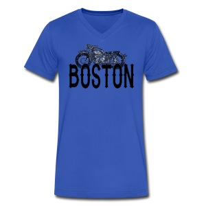 Vintage Boston Motorcycle  - Men's V-Neck T-Shirt by Canvas