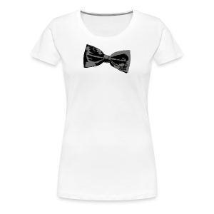 Bow Tie T-Shirt (Women Premium White) Right - Women's Premium T-Shirt