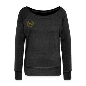 Gold Emblem Cute Equestrian Sweatshirt- Gray - Women's Wideneck Sweatshirt