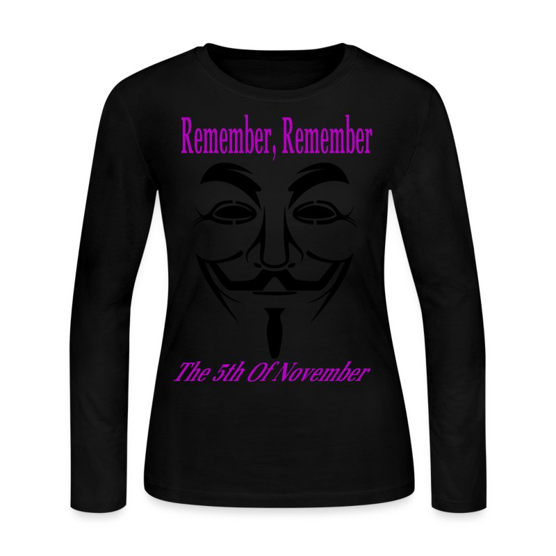 Guy Fawkes Day Mask Long Sleeve T-Shirt For Women - Women's Long Sleeve Jersey T-Shirt