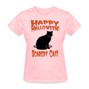 Happy Halloween Scaredy Cat T-Shirt For Women - Women's T-Shirt