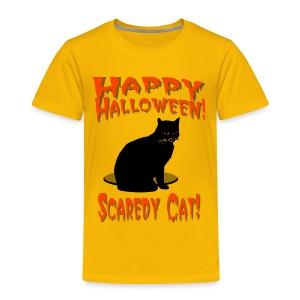 Happy Halloween Scaredy Cat T-Shirt For Kids - Toddler Premium T-Shirt