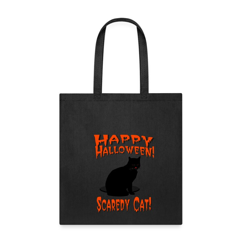 Happy Halloween Scaredy Cat T-Shirt  Cotton Canvas Tote Bag - Tote Bag