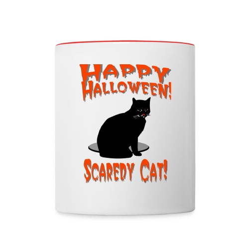 Happy Halloween Scaredy Cat T-Shirt  Ceramic Coffee Mug - Contrast Coffee Mug