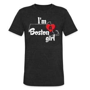 I'm A Boston Girl Heart - Unisex Tri-Blend T-Shirt by American Apparel
