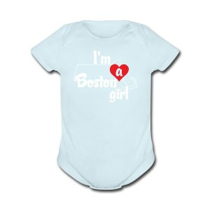 I'm A Boston Girl Heart - Short Sleeve Baby Bodysuit