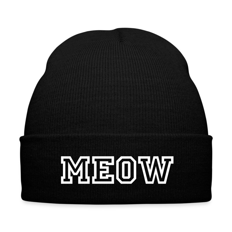 MEOW - Knit Cap with Cuff Print