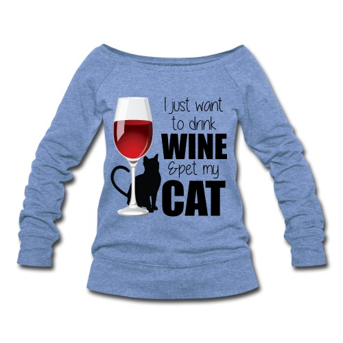 Wine Cat longsleeve sweater - Women's Wideneck Sweatshirt