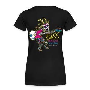 [womens] Kokopelli (BACK) Bass T-Shirt - Signature Bass Musician Magazine Design - Women's Premium T-Shirt