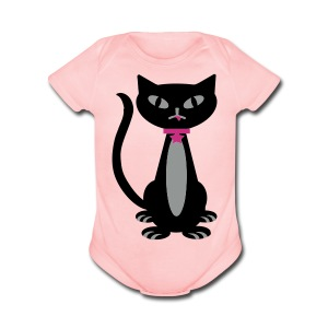 Black Kitty - Short Sleeve Baby Bodysuit