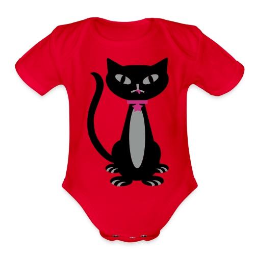 Black Kitty - Organic Short Sleeve Baby Bodysuit
