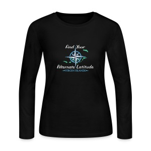 Womens Vintage Compass Long - Black - Women's Long Sleeve Jersey T-Shirt
