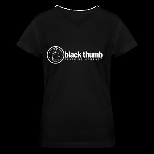 Black Thumb Logotype Women's - Women's V-Neck T-Shirt