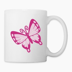 Simple bold two color butterfly Bottles & Mugs