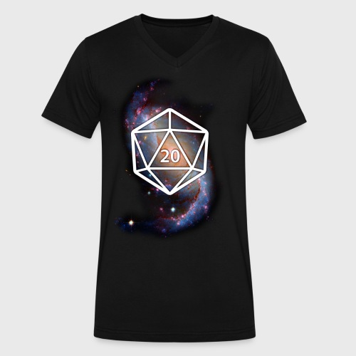 Astronomy Space Galaxy Geek d20 - Men's V-Neck T-Shirt by Canvas
