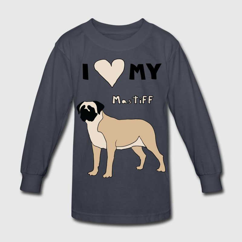 i heart my mastiff Kids' Shirts - Kids' Long Sleeve T-Shirt
