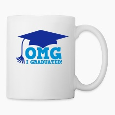 OMG I GRADUATED! with mortar board hat Bottles & Mugs
