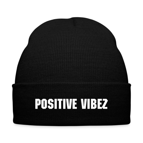 Positive Vibez Beanie - Knit Cap with Cuff Print