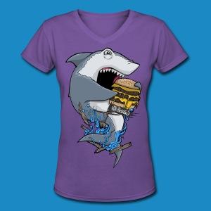 Hungry Shark Womens V Neck - Women's V-Neck T-Shirt