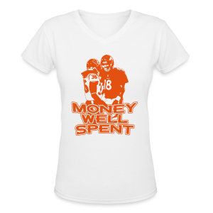 Money Well Spent - Ladies V-Neck - Dark Design - Women's V-Neck T-Shirt