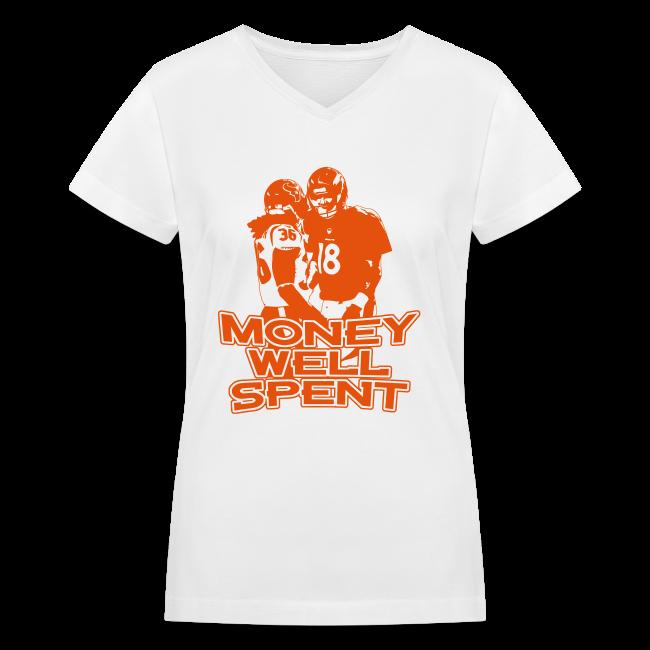 Money Well Spent - Ladies V-Neck - Dark Design