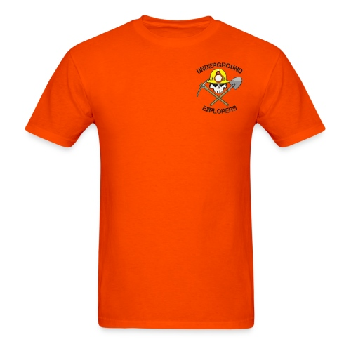 Underground Explorers Orange Logo Tee with Flag - Men's T-Shirt