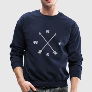 Hipster compass / crossed arrows / retro look Long Sleeve Shirts - Crewneck Sweatshirt