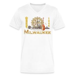 Milwaukee Flag - Men's V-Neck T-Shirt by Canvas