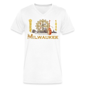 Milwaukee Flag - Men's V-Neck T-Shirt by Canvas