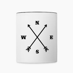 Hipster compass / Cross - Modern Trendy Outfit Bottles & Mugs