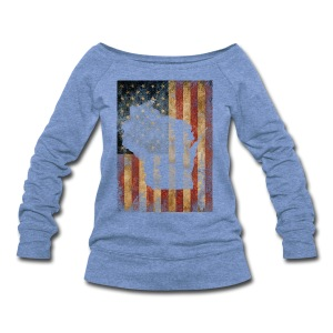 Wisconsin USA Flag - Women's Wideneck Sweatshirt