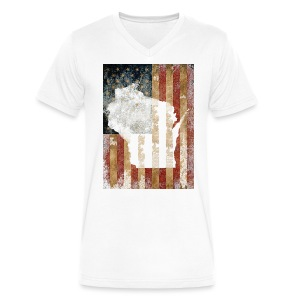 Wisconsin USA Flag - Men's V-Neck T-Shirt by Canvas