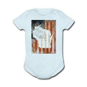 Wisconsin USA Flag - Short Sleeve Baby Bodysuit