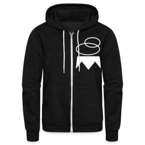 Overthrown King Zip Up Hoodie | White on Black - Unisex Fleece Zip Hoodie by American Apparel