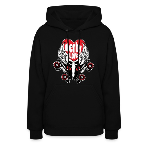 black Women's Hooded Sweatshirt  Derby Love  - Women's Hoodie