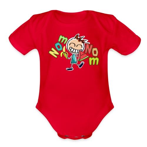 Nom Nom Baby Shirt - Organic Short Sleeve Baby Bodysuit