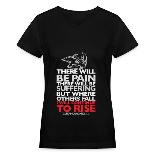 There will be pain | CutAndJacked | Womens Tee - Women's V-Neck T-Shirt
