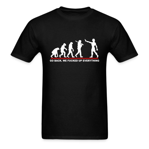 Go Back Evolution Funny - Men's T-Shirt