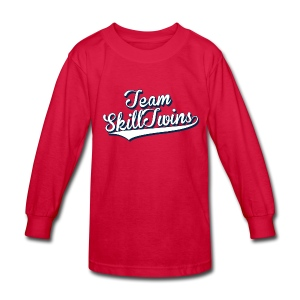 Kids' Long Sleeve T-Shirt - This is the SkillTwins College Shirt - Is classy and sporty at the same time! It's fits perfect during schooldays with a pair of jeans or when you wants  to take some fresh air in the nature and play some street football.  Shoulder-to-shoulder tape & seamless collarette, the double-needle neck and bottom hem and rib sleeve cuffs make this a long-lasting product.   Hashtag your Instagram photo or Tweet us with the hashtag #SkillTwinsShop and we will check you out! // SkillTwins