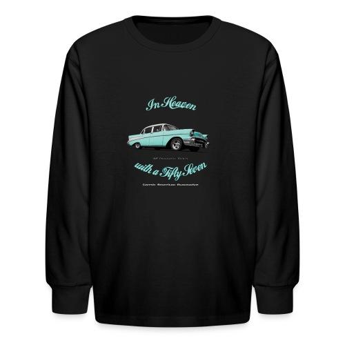 Kids' Long Sleeve T-Shirt | 57 Chevy Belair | Classic American Automotive - Kids' Long Sleeve T-Shirt