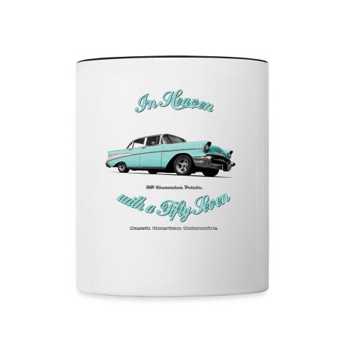 Contrast Coffee Mug | 57 Chevy Belair | Classic American Automotive - Contrast Coffee Mug