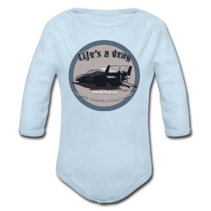 Baby Long Sleeve One Piece | Lifes a drag | Classic American Automotive - Long Sleeve Baby Bodysuit