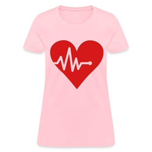 Heart w/ 6IP on Sleeve - Women's T-Shirt