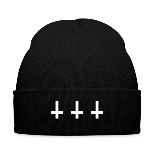 3 Crosses Beanie - Knit Cap with Cuff Print