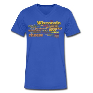 Wisconsin Words - Men's V-Neck T-Shirt by Canvas