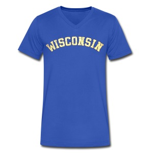 Wisconsin Distress - Men's V-Neck T-Shirt by Canvas