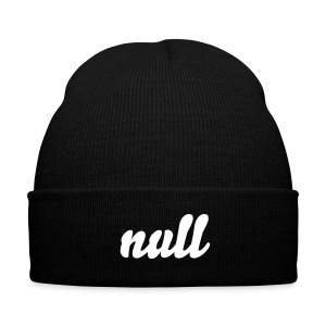 Null' Knit Beanie - Black - Knit Cap with Cuff Print